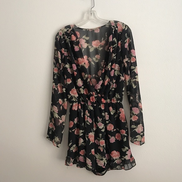 Foreign Exchange Dresses & Skirts - Foreign Exchange Long Sleeve Floral Romper